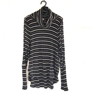 Free People black and white striped turtleneck